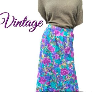 Alfred Dunner Vintage Floral Pleated Skirt
